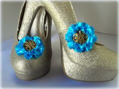 Shoe Clips Tiffany Blue Satin flowers set of 2 by ShoeClipsOnly, $16.00