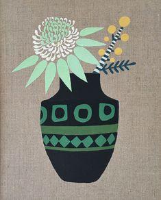 White Waratah and Wattle in Modernist Vase by Sally Browne Abstract Geometric Art, Scandinavian Folk Art, Plant Illustration, Floral Illustrations, Love Art, Online Art, Collage Art, Watercolor Art, Creations