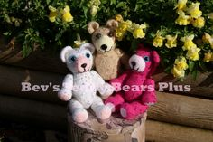 Snowflake, Jewel & Twinkle - Crocheted Teddy Bears with sparkly sequins. Arms and legs are moveable. Snowflake and Jewel are 7 inches tall.  Twinkle (the pink bear) is 6 1/4 inches tall.