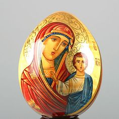 Russian Icon Egg with Mary & Jesus (wood) Religious Icons, Religious Art, Russian Folk Art, Russian Icons, Mary And Jesus, Egg Art, Catholic Art, Art Icon, Orthodox Icons