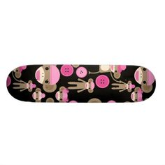 Cute Girly Pink Sock Monkeys Girls on Black Skateboards