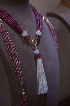 Goshwara Rubellite and moon quartz tassel necklace