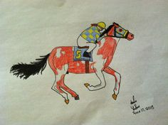 This a drawing of my fictional racehorse Amaryllis of Fountain Wood Stables with a rider in their racing silks. The rider is pretty bad, but then again I hardly ever draw people, so...yeah. Amaryllis is a blood bay pinto thoroughbred, double registered with the Jockey Club and American Paint Horse Association (Amaryllis and Fountain Wood Stables are made up)