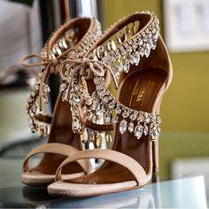 Milla Beaded Jewel Strap Sandals by Aquazzura  image via @Aquazzura