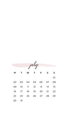 July 2018 Calendar Wallpaper Phone