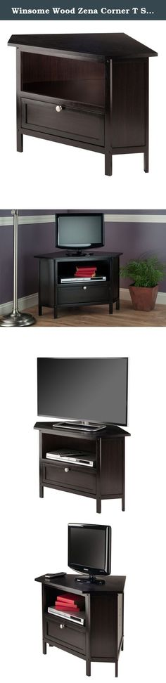 """Winsome Wood Zena Corner T Stand, Espresso. The Zena Corner TV Stand settle your TV back into the corner and reclaims valuable floor space. The stand can hold up to a 27"""" TV and provides an open shelf and pull down door storage for various TV components. The longest sides that touch the wall are 23.6"""" and the shorter sides are 9.8"""". The front side is 22.8"""" and sits 22.2"""" off the floor. The shelf opening is 19.6""""W x 8""""H and the inside shelf tapers from 19.6""""~30""""W x 10.1""""~19.6""""D x 9.25""""H…"""