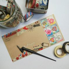 """Love the white writing on brown envelope """"many thanks"""" stamp and use of washi!"""