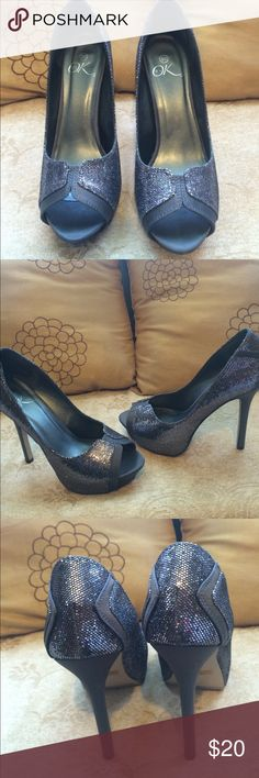 """EUC, wore once , smoke gray w/silver sequence, EUC, wore once , smoke gray w/silver sequence, very cute, play form w/5"""" heels, great for any occasion . Ok Shoe Show Shoes Heels"""
