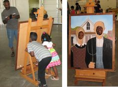 """I painted a fun Grant Wood.  These are called """"standins"""" or """"carnival cutouts"""".  We have fun with this one."""