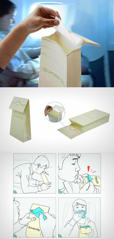 Simple and elegant, the Sickness Bag designed by Zanwen Li comes with a unique design that integrates a tissue paper into the flap/lid of the bag.  Read Full Story at Yanko Design