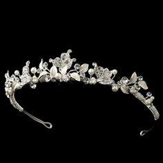 Elegance by Carbonneau Silver Rhinestone & Ivory Pearl Tiara Headpiece 1535 Silver Rhinestone, Silver Pearls, Wedding Tiaras, Wedding Bride, Wedding Hair, Diamond Hair, Head Jewelry, Jewellery, Pearl Headband