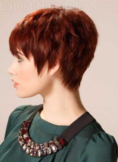 Textured Layered Red Pixie Hair