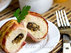 Bacon Wrapped Cheese & Mushroom Stuffed Chicken Breasts