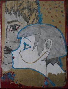 Lacrime: del 2002, mis 18x24. grafite, chine su carta, vernice, base in compensato