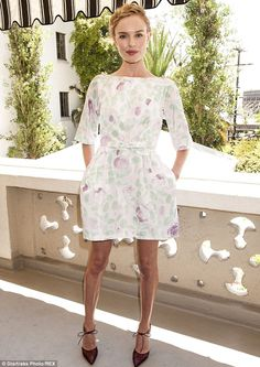 Pretty in pastels:  Kate Bosworth arrived at the Château Marmont in a pretty white, purple...