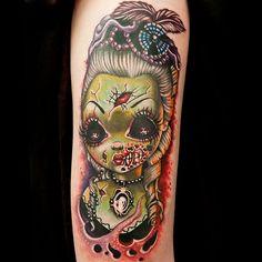 Zombie girl new school tattoo inked pinterest girls for Tattoo artist job description
