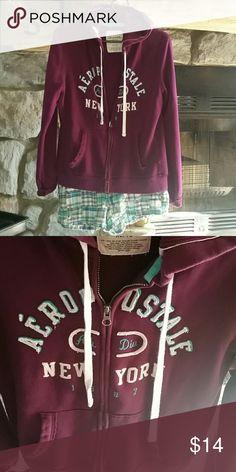 Flash sale $$Hooded sweatshirt Purple teal white zip up, worn look Aeropostale Tops Sweatshirts & Hoodies
