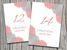 Wedding Table Number Microsoft Word Template | Chrysanthemum Wedding Gray Peach Coral | EDITABLE TEXT 5x7 Wedding Table Number by PaintTheDayDesigns, $8.00