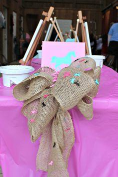 Horse themed birthday party~I love the horses on the burlap ribbon!