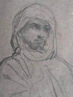 CHASSERIAU Théodore,1846 - Arabe debout, retenant un pli de son Burnous - drawing - Détail 21