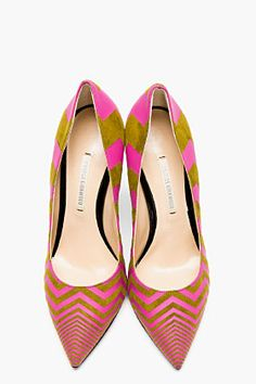 OOOOH love the super hot geo print on these! NICHOLAS KIRKWOOD Olive And Pink Zig Zag Pumps