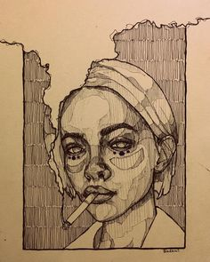 Art Sketches Ideas - Mohamed Badawy on she smelled of cigarettes a. Pencil Art Drawings, Art Drawings Sketches, Sketch Drawing, Charcoal Drawings, Contour Drawings, Portrait Sketches, Anime Sketch, Tattoo Sketches, Tattoo Drawings