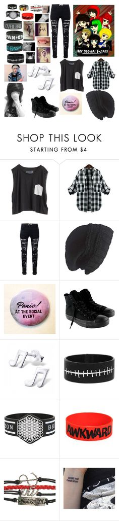 """""""Being a special guest on the My Digital Escape Tour"""" by bayley-the-weird-fangirl ❤ liked on Polyvore featuring Blondes Make Better T-Shirts, Laundromat and Converse"""