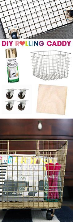DIY Rolling Caddy - these are a great storage idea, would love cool in a kids room, garage, etc.