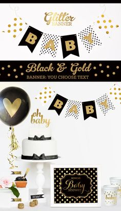 Black and Gold Baby Shower Decorations Black and White Baby Shower Elegant Baby…