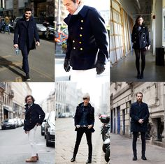 If You're Thinking About…..Peacoats « The Sartorialist  Girl, bottom row, middle. love.