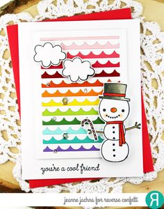 Cool Friend by akeptlife - at Splitcoaststampers #snow #snowman #card #cardmaking #stamp #stamping #snow #snowman #reverseconfetti #coolfriend