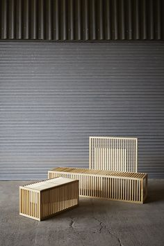 Great idea for a design public outdoor seating -Clarascuro benches - Lilliana Ovalle Sticks Furniture, Bench Furniture, Urban Furniture, Design Furniture, Wooden Furniture, Interior Exterior, Interior Design, Timber Battens, Outdoor Seating