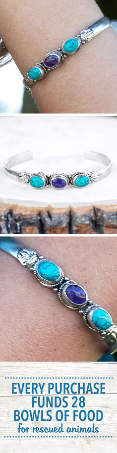 Third times a charm with this decorative cuff! A team of turquoise with an amethyst center combine powers thought to promote clear communication and add a meditative mantra to your day.