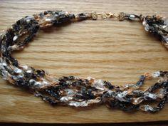 Black White & Khaki Ladder Yarn Necklace,  Crocheted Necklace Made with Trellis Ribbon Yarn.. $10.00, via Etsy.