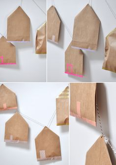 Christmas Crafts : Paper bag houses with washi tape (as an advent calendar) Noel Christmas, Christmas Countdown, Winter Christmas, Preschool Christmas, Advent Calenders, Navidad Diy, Printable Calendar Template, Theme Noel, Merry And Bright
