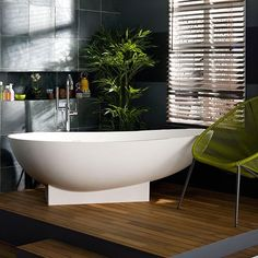 Modern spa-style bathroom with contemporary bath tub | Modern bathroom design ideas | bathrooms