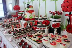Dessert table at a  Ladybug Party #ladybug #partytable