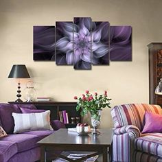 Bauhinia Chinese Redbud Purple Flower Plant Botany Picture Artwork 5 Panel Oil Painting On Canvas Stretched And Framed Giclee Print Home Decoration Living Room Bedroom Wall Art Hanging by uLinked Art  Consider using purple wall art if you want to make any room in your home look unique, trendy and modern.  In fact you can get all kinds of purple home décor ideas by finding a few pieces of charming and cool purple decorative accents.  Combine these with purple metal wall art to create a fun…