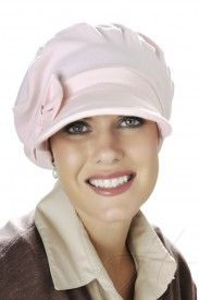 baseball cap with detachable bow in pink for cancer patients and women with hair loss