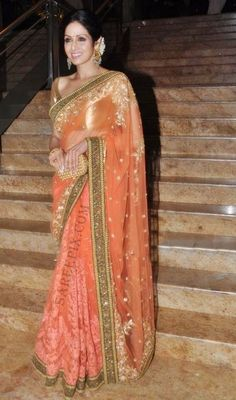 Sridevi in a Beautiful #Sabyasachi #Saree Ensemble (she completes her look with a gajra and big jhumkas earrings) http://www.sabyasachi.com/