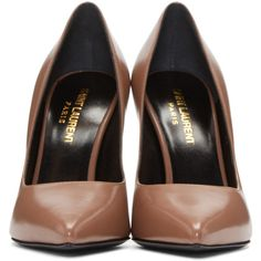 Saint Laurent Brown Leather Paris Heels ($595) ❤ liked on Polyvore featuring shoes, pumps, pointy-toe pumps, pointed toe pumps, leather sole shoes, leather shoes and yves saint laurent pumps