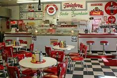 American Diner at its Best. See Twisters soda fountain/ diner on Route 66 in Williams, Arizona. (print by Patricia Montgomery) - inspiration 1950 Diner, Vintage Diner, Retro Diner, 50s Diner Kitchen, Retro Cafe, American Diner Kitchen, Tiny Diner, Vintage Style, Bar Retro