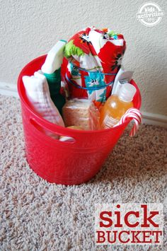 Things to include in a Sick Bucket: Awesome idea to be prepared! Especially when you have more than one kiddo!