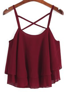 To find out about the Spaghetti Strap Chiffon Cami Top at SHEIN, part of our latest Tank Tops & Camis ready to shop online today! Purple Tank Top, Red Tank Tops, Cute Crop Tops, Red Tops, Summer Tank Tops, Crop Top Outfits, Mode Outfits, Fashion Outfits, Sweater Outfits