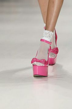 Satanic Barbie Doll — -angelface: betsey johnson s/s 2015 Pink Heels, Sexy Heels, Pink Wedges, Bow Heels, Crazy Shoes, Me Too Shoes, Stripper Heels, Lace Socks, Mary Jane Heels