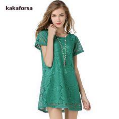 Kakaforsa Women Polyester Lace Dress Hollow Out Short Sleeve Plus Size Women Clothing O-Neck Boho Dresses Vestido de Renda Preto #Affiliate