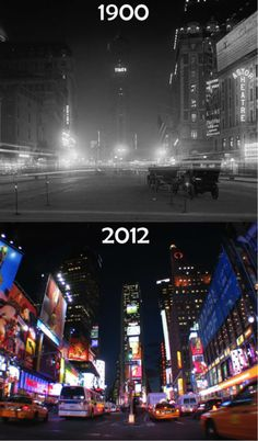 Times Square then and now