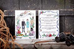 Illustrated wedding stationery with a custom portrait