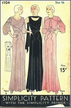 1930's Simplicity Evening Dress 1104 Sewing Pattern