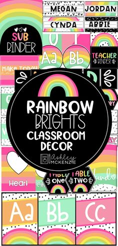 Modern Rainbow Classroom Decor Brighten up your classroom with this fun rainbow themed decor bundle. You and your students will love walking into your classroom everyday! Classroom Decor Themes, Classroom Jobs, 4th Grade Classroom, Classroom Design, Kindergarten Classroom, Future Classroom, Classroom Organization, Classroom Behavior, Teacher Toolbox Labels